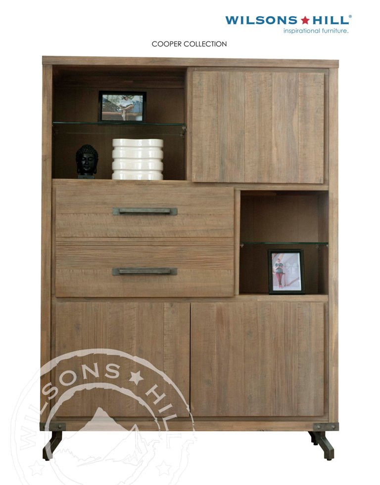 Cooper (Lowboard 3 doors, 1 door fake 2 drawers, 2 glass shelves)