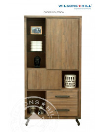 Cooper (Highboard 2 doors, 1 door fake 2 drawers, 1 niche, 3 glass shelves)